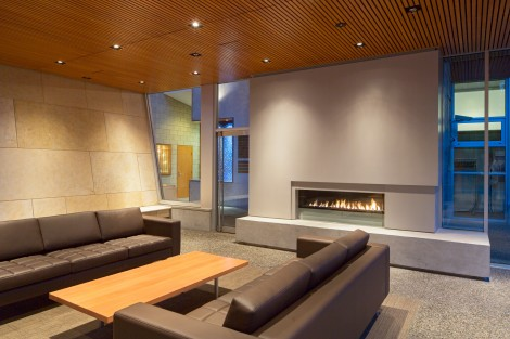 social lounge fireplace