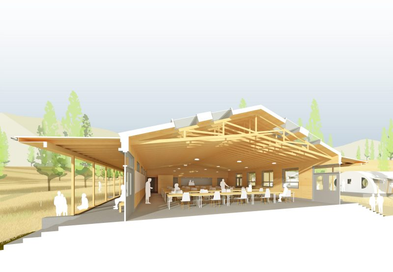 cross section thru learning & dining hall